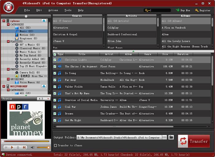 4Videosoft iPod to Computer Transfer screenshot