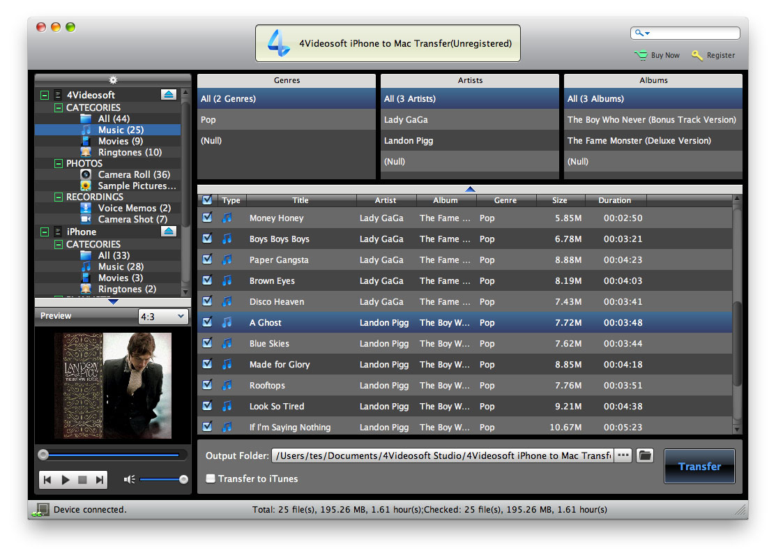 4Videosoft iPhone to Mac Transfer - iPhone to Mac Transfer, iPhone to Mac music Transfer, iPhone rip to Mac, iPhone  - 4Videosoft iPhone to Mac Transfer is the best iPhone to Mac music/movie Transfer